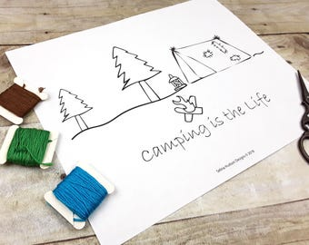 Camping is the life embroidery Pattern pdf - stitchery primitive camp tent summer