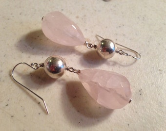Pink Earrings - Rose Quartz Gemstone Jewelry - Sterling Silver Jewellery - Beaded - Chunky - Fashion
