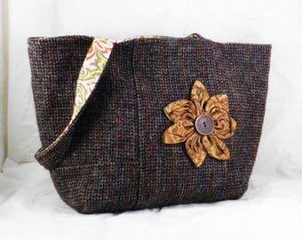 Harris Tweed, Handmade Wool Purse, Brown Tweed, Shoulder Bag
