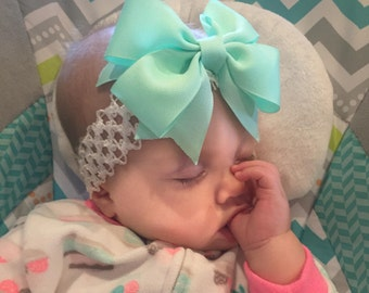 Butterfly Kisses Bow, Mint (Hair Bow Attached by Band, Newborn-3 Yrs)