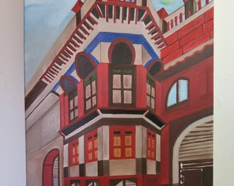 Downtown old building oil painting