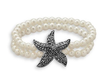 Pearl Bracelet with Starfish Charm, Pearl Stretch Bracelet, Double Stranded Pearl Bracelet with Starfish Charm