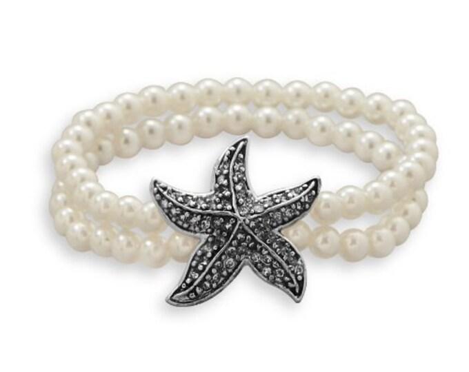 Pearl Bracelet with Starfish Charm, Pearl Stretch Bracelet, Double Stranded Pearl Bracelet with Starfish Charm
