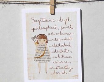 Sagittarius card Astrology card Zodiac card Astrological sign card