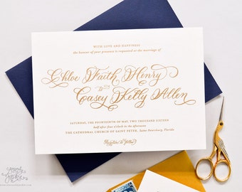 INVITATION SAMPLE The Flounce Suite - Gold Calligraphy Wedding Invitation - Heirloom Wedding Invitations by Sincerely, Jackie