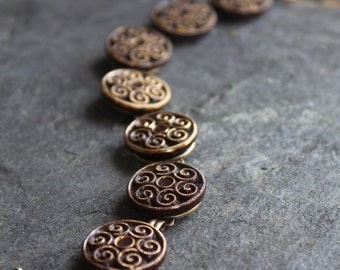 Stunning brown and gold Czech glass button bracelet,  vintage buttons, victorian, assemblage, jewelry, oldnouveau up cycled, recycled