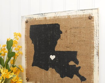 LOUISIANA burlap sign, 12 inches by 12 inches, ready to hang, STATE SIGNS, Arkansas, California, Connecticut, Delaware, Florida, Georgia