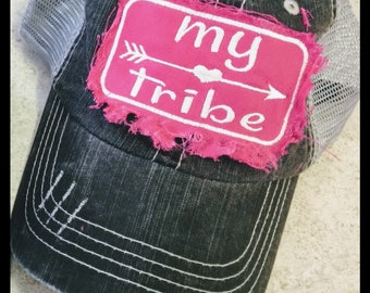 FREE shipping! My tribe frayed distressed patch baseball cap