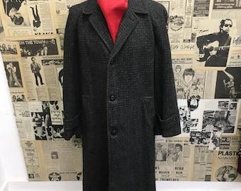 Mens Vintage 1950's Over Coat  by Gentry Penneys Harris Tweed Blue Grey Size Medium CHEAP UK POSTAGE & Worldwide