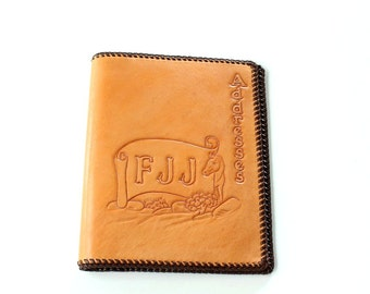 SALE vintage hand tooled leather address book cover with a horse and initials FJJ, hand carved by Mildred Belknar