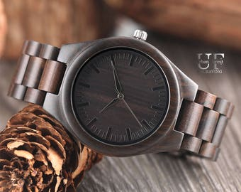 1st Anniversary Gifts for Men Graduation Gift Engraved Wooden Watch Handmade Wood Mens Black Watch, Grooms Gift Wedding Fathers Day