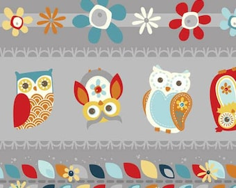 Nested Owls Charcoal - Owl Tickertape Charcoal Fabric from AdornIt