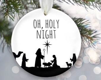Baby Jesus Ornament Oh Holy Night Christmas Ornament Holiday Ornament Christian Ornament Nativity Ornament Jesus is the Reason OR213
