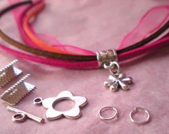KIT * bracelet mini cuff * pink tone with flower pendant
