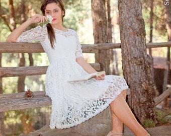 Short Wedding Dress, Tea Length Dress, Ivory Wedding Dress, 1950 S Dress, Lace Wedding Dress, Sleeves Bridal Dress, Simple Wedding Dress