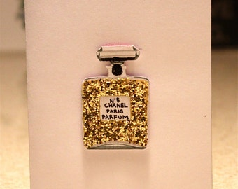 Sparkly Chanel No. 5 Greeting Card