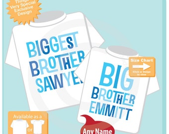 Biggest Brother and Big Brother Shirt set of 2, Sibling Shirt, Personalized Tshirt with Shades of Blue Letters (08062015f)