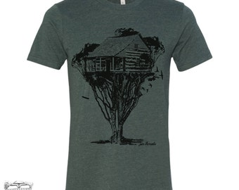 Mens TREEHOUSE Cabin t shirt s m l xl xxl (+ Color Options) custom