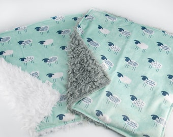 Aqua Sheep Lovey - You choose back color | Cuddle Blanket | Security Blankey | Gender Neutral | Wisconsin Made - Pixel & Stitch