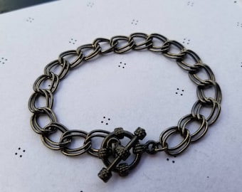 Gunmetal Bracelet for charms with Clasp 7.5 inches