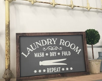 Laundry Room painted solid wood sign