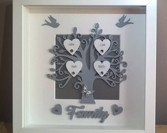 Family Tree Frame, Mothers Day Gift, New Home Gift, Birthday Gift For Mum, Grey Family Tree, Anniversary Gift