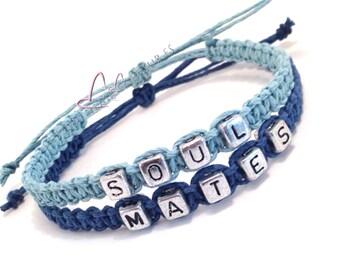 Soul Mates Bracelets, Couples Bracelets, Blue Bracelets, Adjustable Bracelets, Couples Gift, stocking stuffer