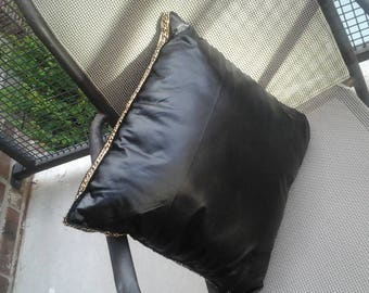 Black Faux Leather Throw Pillow with Gold chain