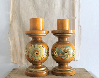 Vintage Chunky Mexican Folk Art Candlestick Holders