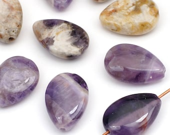Teardrop dogtooth amethyst beads, purple and white flat smooth semiprecious stone 17mm, 10 pcs