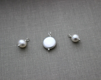 Add a small pearl  charm to a necklace or bracelet in my shop
