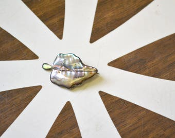 1940s Mexican Sterling and Abalone Leaf Brooch