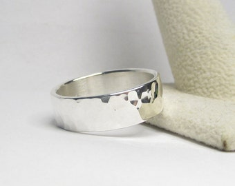 Hammered Silver Ring, Men's Ring, Mens Ring, Wedding Ring, Engagement Ring, Engraving Options Available