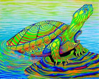 Psychedelic Neon Painted Colorful Water Turtle Giclée Fine Art Print
