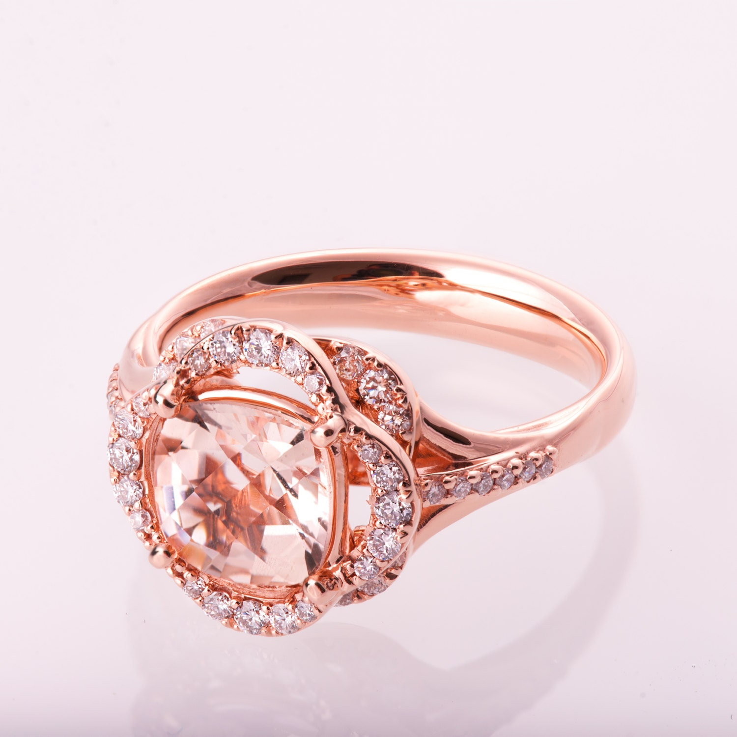 Morganite Engagement Ring Flower Ring Unique Engagement