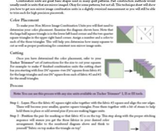 Non Mirror Combo Unit Technique Sheet
