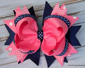 Girls hair bows Navy blue Pink Hair bows Stacked Hair Bow Big hair bows Boutique hair bows Chevron, Polka Dot, Headband, Babies, toddlers