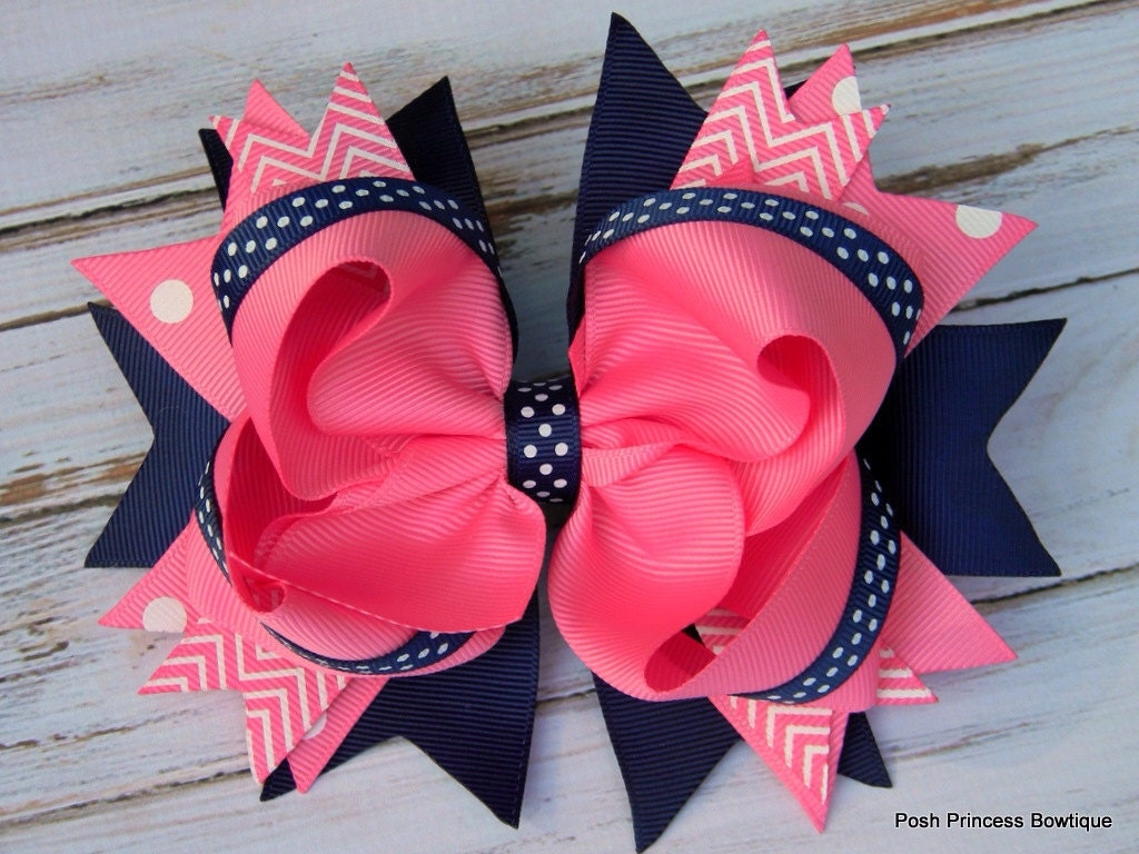 Girls Hair Bows Navy Blue Pink Hair Bows Stacked Hair Bow Big