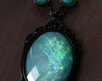 Neo victorian Goth Jewelry - Necklace - Aqua Opalescent Pendant and Uranium glass beads - Black Gun metal