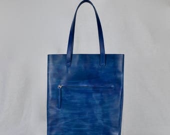shopper BLUE | leather tote | leather tote bag | leather laptop bag | leather shopper bag | work bag | tote bag | minimal | messenger bag