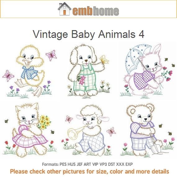 Vintage Baby Animals 4 Machine Embroidery Designs Instant