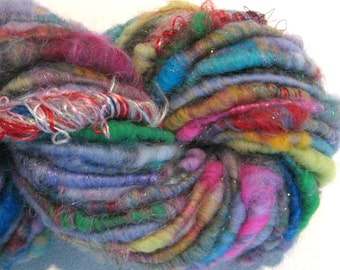 HALF OFF SALE handspun art yarn Lollipop Blast 55 yds rainbow sari silk thread knitting supplies crochet supplies  waldorf doll hair