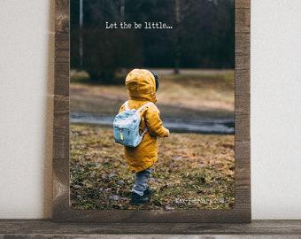 Custom Metal Child Photo Art Print on Rustic Reclaimed Wooden Frame