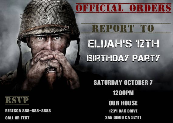 Call Of Duty Wwii Birthday Invitation Personalized