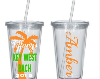 Personalized Bridesmaid Tumblers, Bridal Party Tumblers, Bridesmaid Gift, Wedding Tumblers, key west bachelorette tumbler