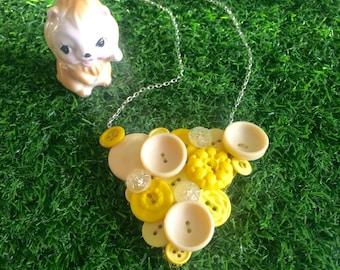 Yellow Button Necklace, Retro, Vintage Button Necklace, Colourful Statement Necklace
