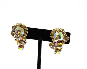AB Rhinestone Clip On Earrings