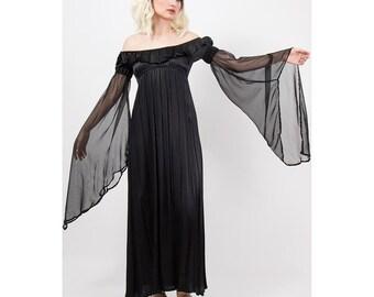 Begotten by Dilek Atasu / Vintage 1990s rayon satin maxi dress / Goth angel / Empire waist puff angel wing sleeves / S