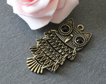 x 1 articulated metal OWL pendant bronze BRB121