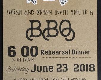 "Pink Pig Invitation; Kraft paper 5"" x 7"":  die cut pigs, 3d; set of 6; bridal shower, birthday, rehearsal dinner, backyard BBQ"